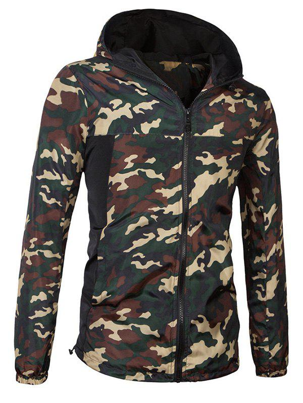 Fashionable Camo Bomber Hooded Zipper Flying Long Sleeve Jacket For Men - JUNGLE CAMOUFLAGE 3XL