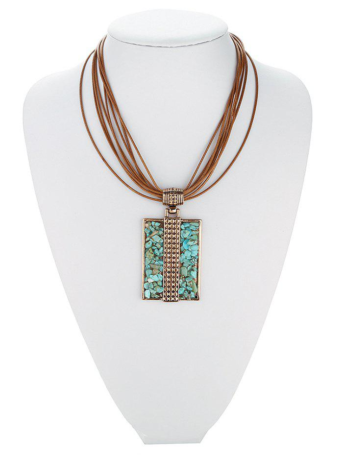 Retro Tiered Rectangle Faux Turquoise Multilayered Necklace - ROSE GOLD
