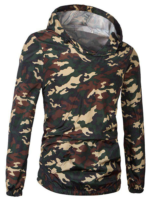 Fashionable Camo Bomber Hooded Pullover Long Sleeve Jacket For Men - JUNGLE CAMOUFLAGE 2XL