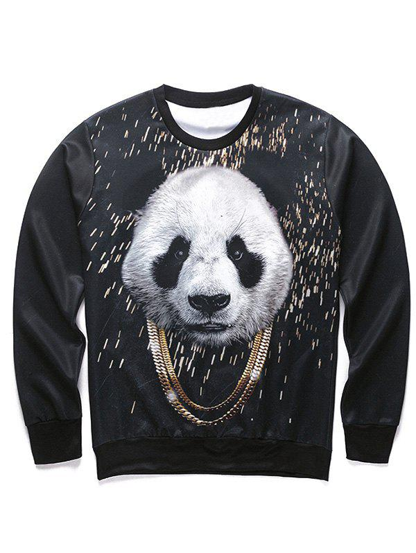 Round Neck Long Sleeve 3D Panda and Gold Chain Print Men's Sweatshirt - BLACK S