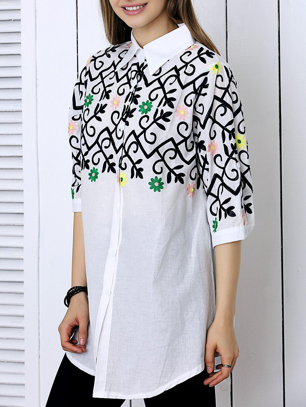 Stylish Jacquard Floral Shirt For WomenWomen<br><br><br>Size: L<br>Color: WHITE