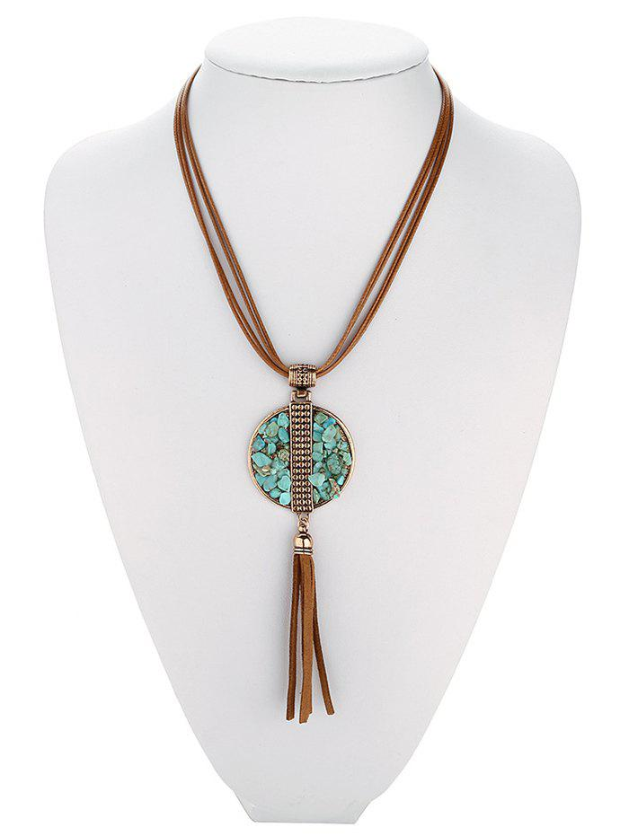 Round Faux Turquoise Fringe Pendant Necklace - ANTIQUE BROWN