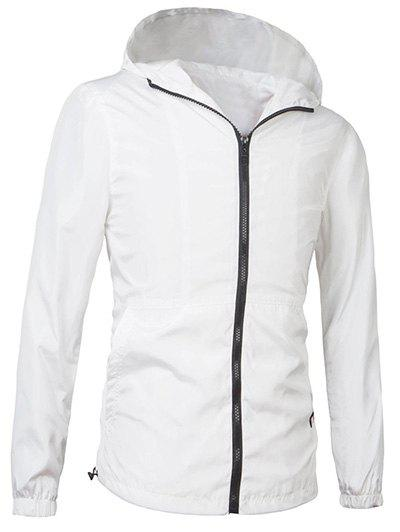 Brief Style Hooded Zipper Flying Long Sleeve Jacket For Men - 3XL WHITE