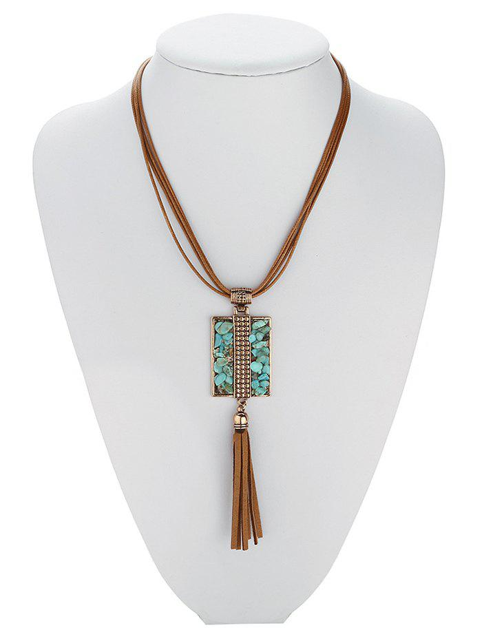 Hot Sale Geometric Faux Turquoise Tassel Multilayered Necklace For Women