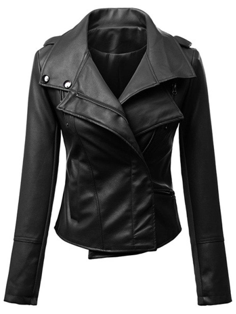 Asymmetric Faux Leather Biker Jacket