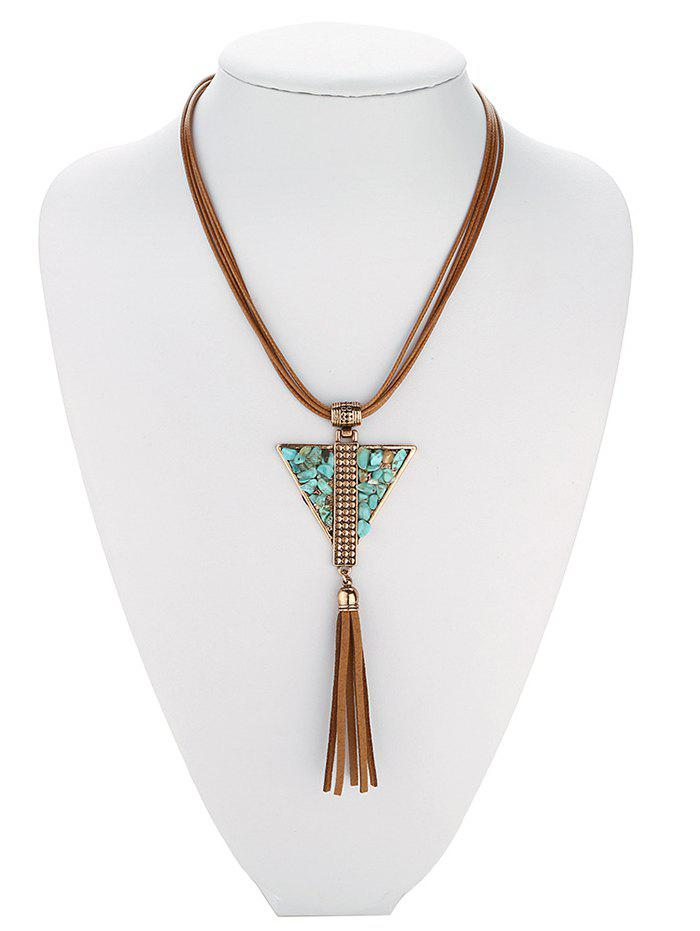 Retro Faux Leather Layered Triangle Turquoise Fringe Necklace - ANTIQUE BROWN