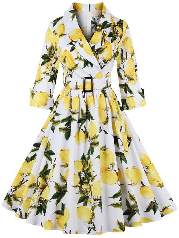 Retro Style 3/4 Sleeve High Waist Lemon Print Women's Dress
