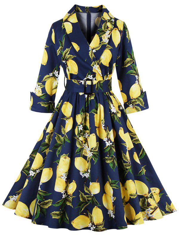Vintage High Waist Lemon Print Dress - PURPLISH BLUE L