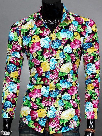 Floral Printed Turn-down Collar Mens Long Sleeve ShirtMen<br><br><br>Size: XL<br>Color: BLUE