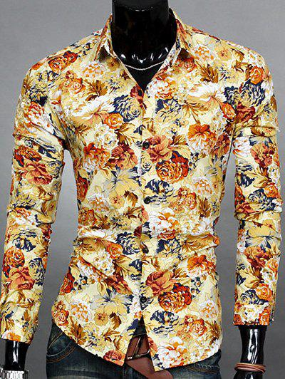 Turn-down Collar Floral Printed Men's Long Sleeve Shirt - YELLOW 2XL