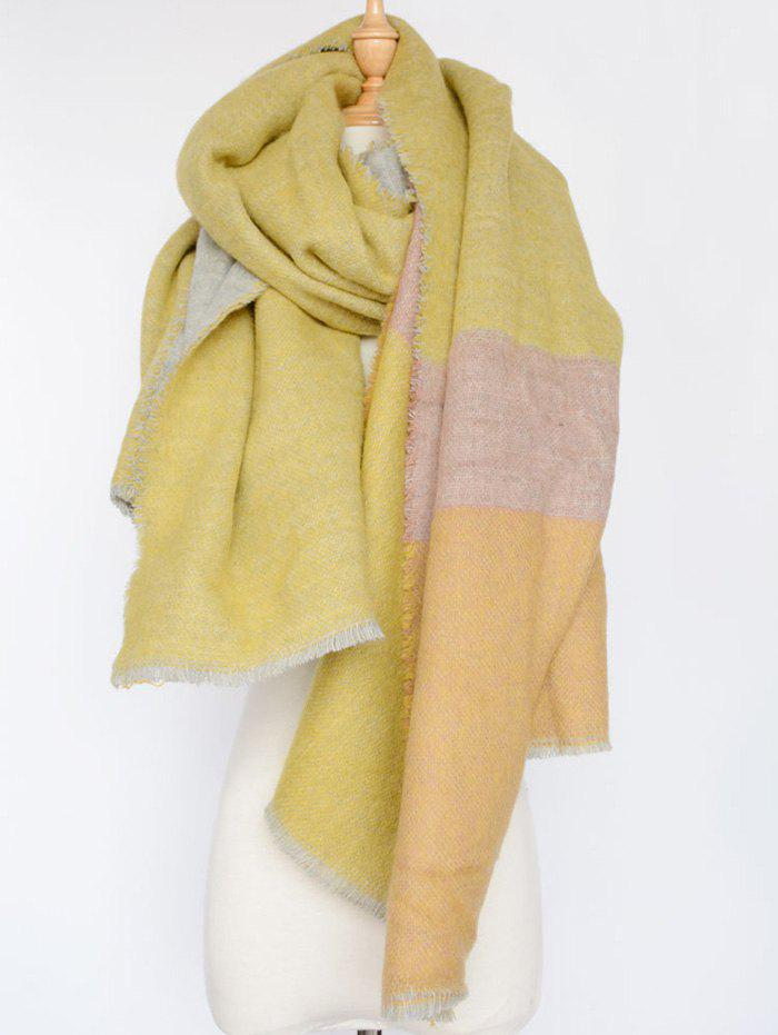 Stylish Colorblocked Shawl Scarf - YELLOW