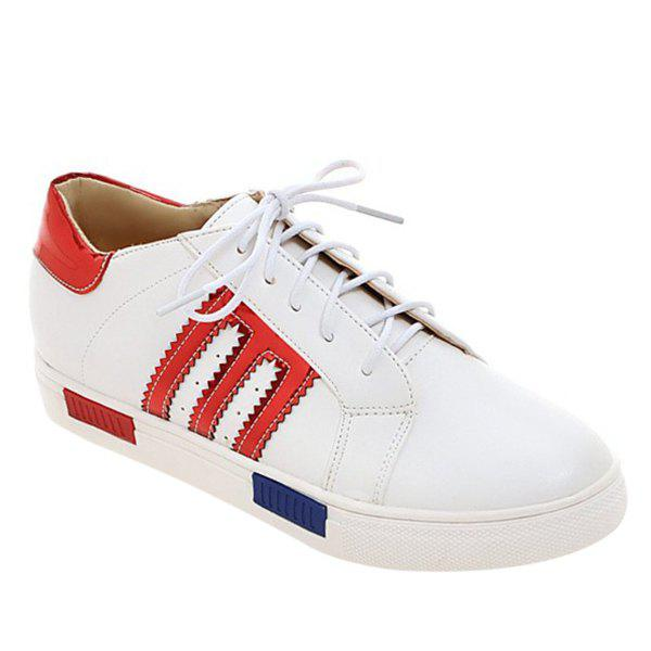 Stylish Stripes and Tie Up Design Women's Athletic Shoes