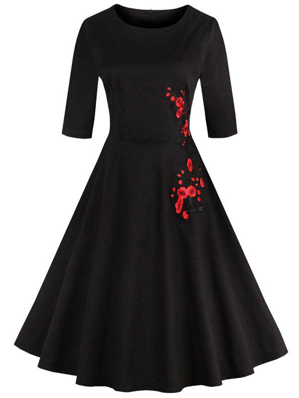 Retro Style High Waist Floral Embroidery Dress - BLACK XL