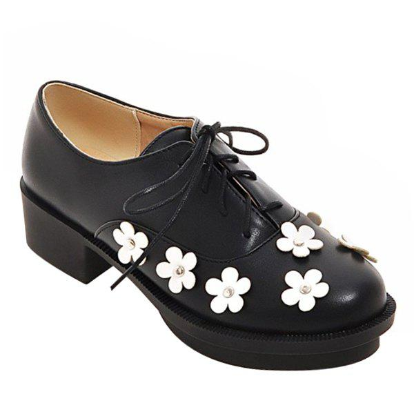 Trendy Lace-Up and Flowers Design Women's Platform Shoes - BLACK 39