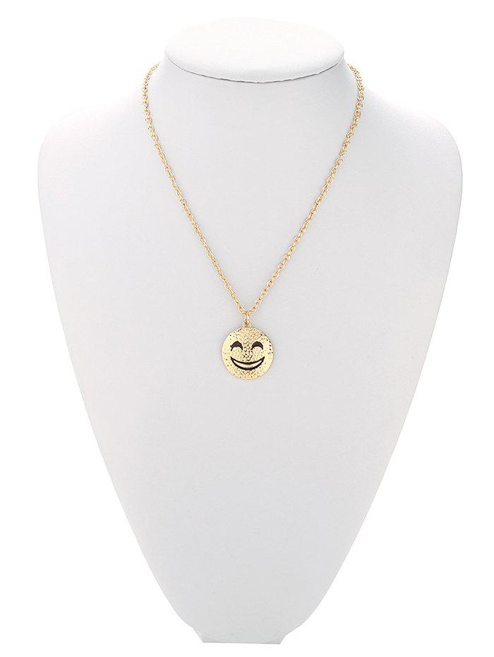 Trendy Grinning Face Pure Color Pendant Necklace For Women - GOLDEN