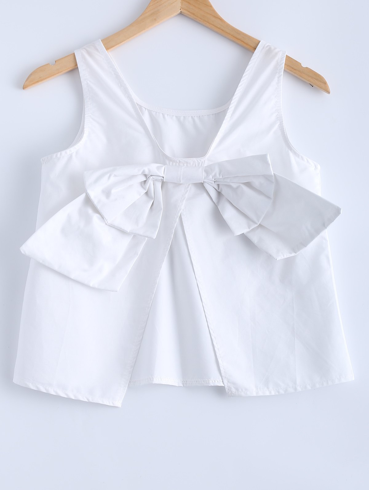 Cute Pure Color White Back Bowknot Tank Top - WHITE ONE SIZE