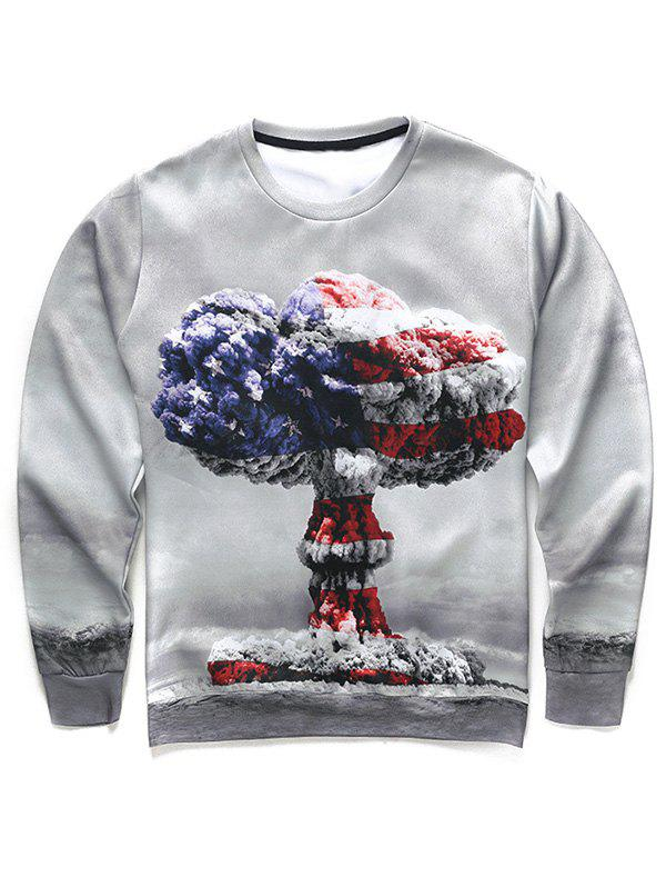 Round Neck Long Sleeve 3D Mushroom Cloud Print Men's Sweatshirt - 2XL COLORMIX