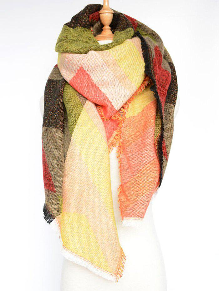 Stylish Rhombus Pattern Wrap Scarf - COLORMIX