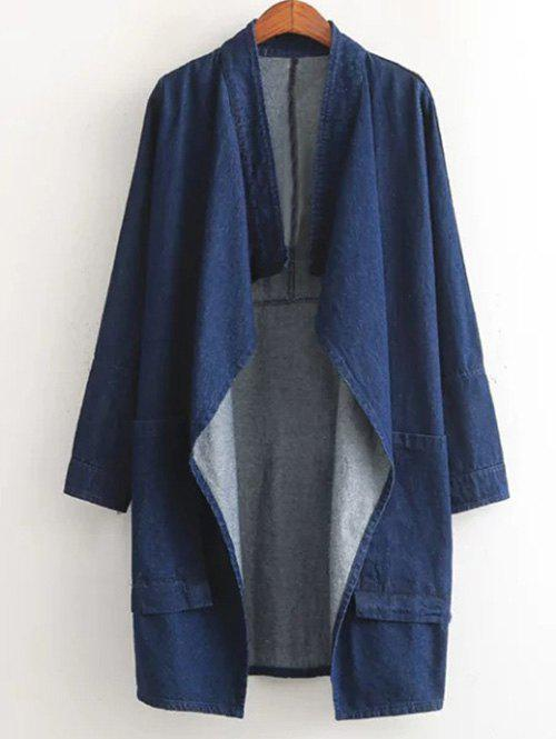 Simple Loose-Fitting Denim Coat For Women - BLUE ONE SIZE