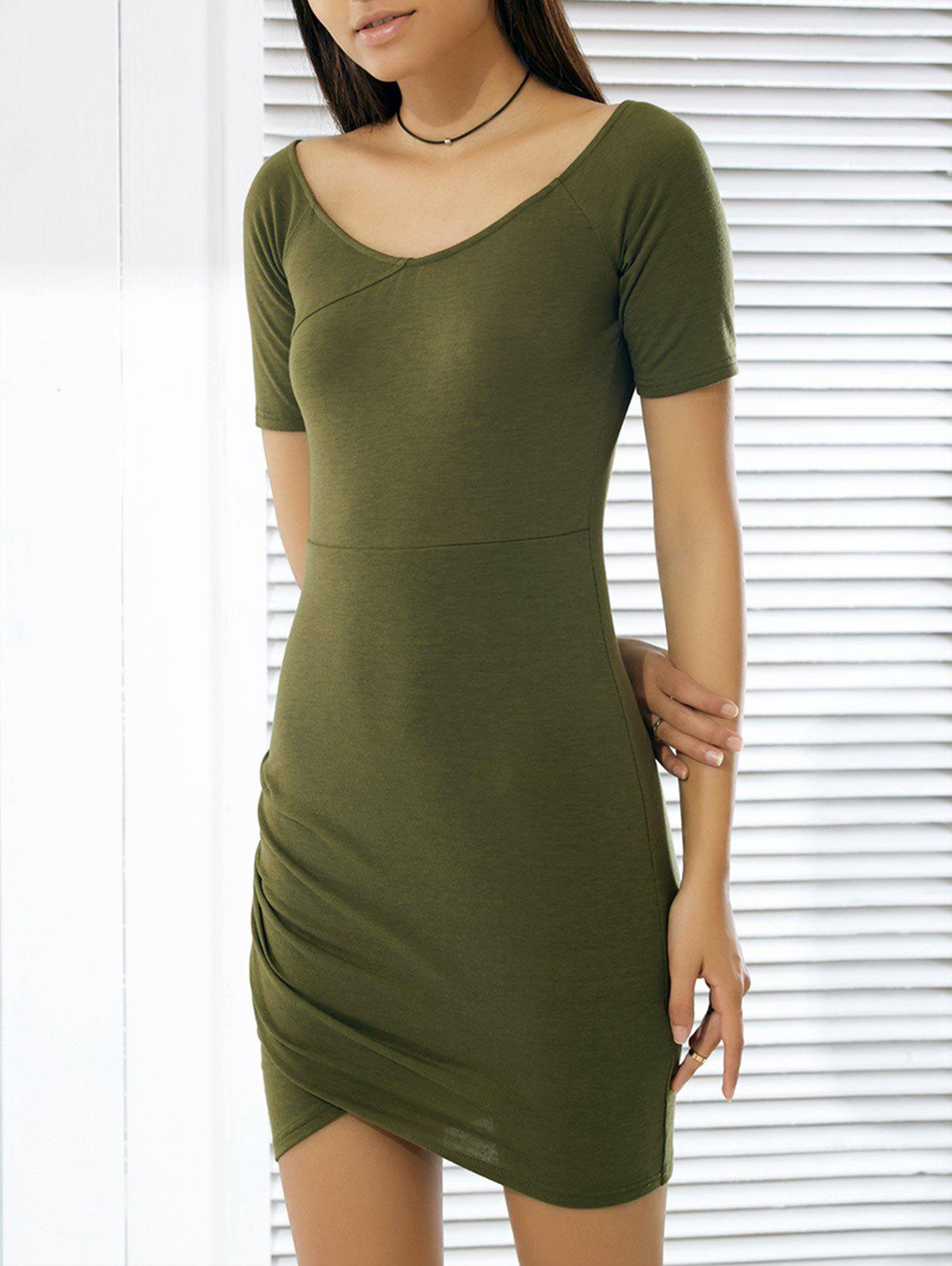 Pure Color Shirred Women's Tulip Dress - ARMY GREEN XL