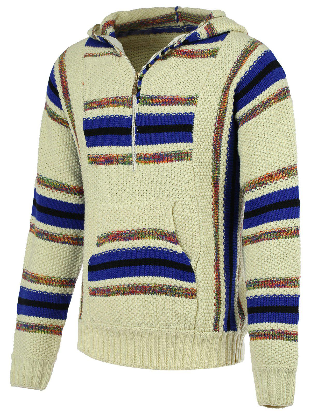 Striped Pattern Half Zip Long Sleeve Men's Hooded Sweater