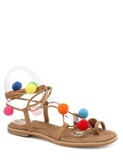 Rome Style Tie Up and Pom Poms Design Women's Sandals - LIGHT BROWN 37