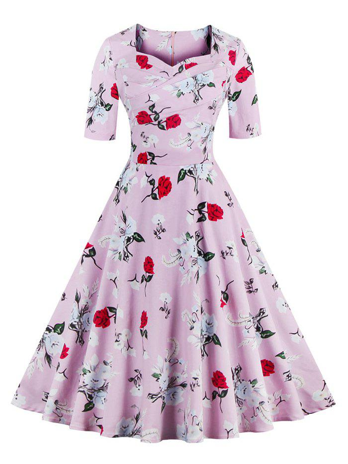 Vintage Sweetheart Neck Floral Pattern Skater Dress - PINK M