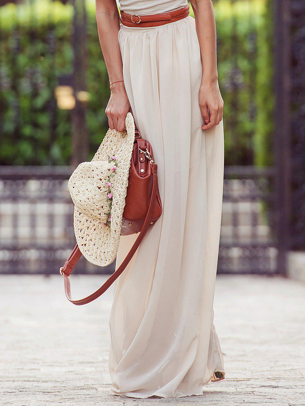 Stylish Solid Color Maxi Skirt For Women - OFF WHITE XL