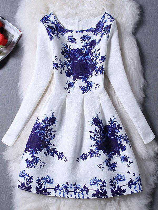Charming Floral Print Slimming Women's Dress - BLUE XL