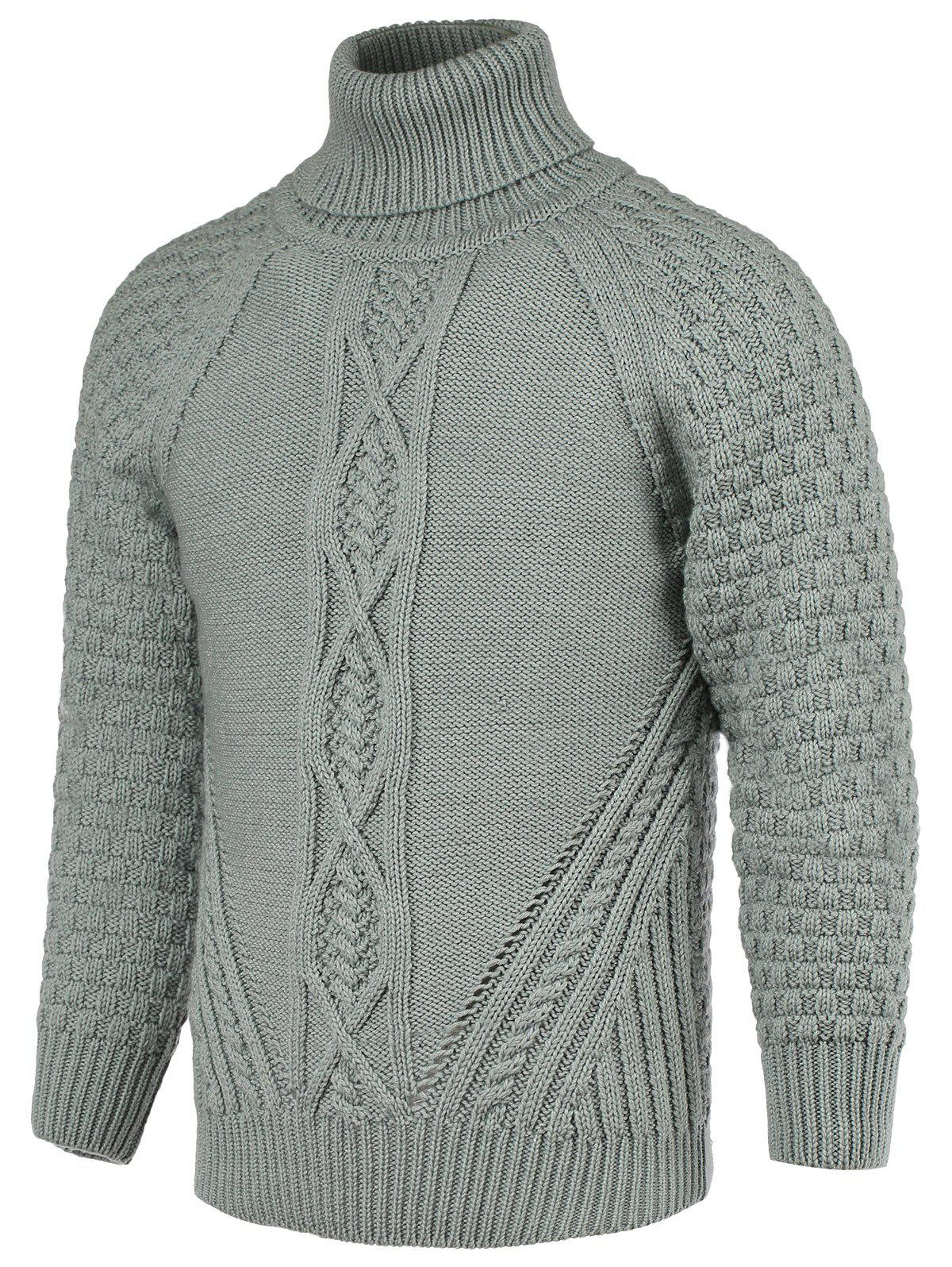 Braid Pattern Turtleneck Men's Raglan Sleeve Sweater
