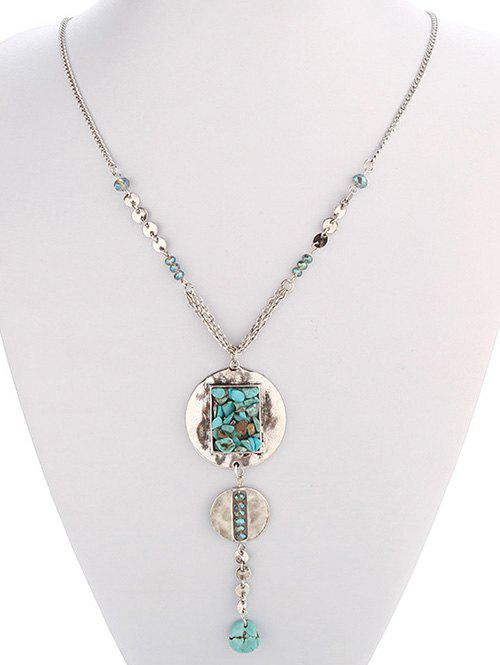 Ethnic Faux Turquoise Disc Necklace - SILVER