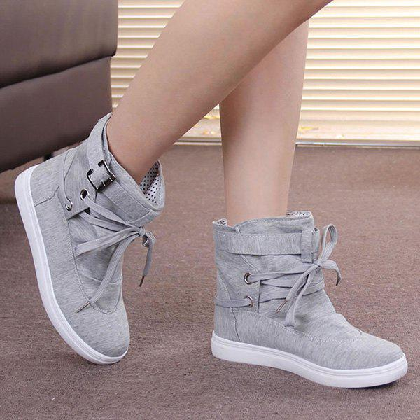 Buckle Strap Cloth Short BootsShoes<br><br><br>Size: 40<br>Color: GRAY