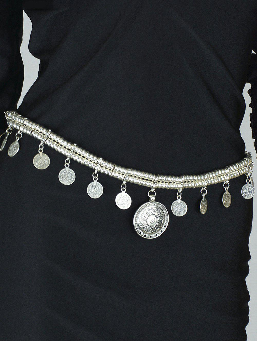 Vintage Coins Tassel Belly Chain - SILVER