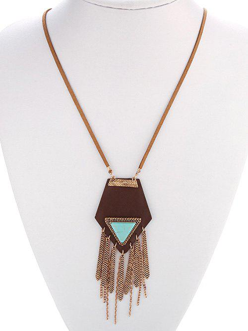 Ethnic Faux Turquoise Geometric Fringed Necklace - GOLDEN