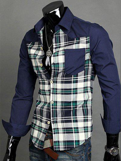 Patchwork Desigh Turn-Down Collar Long Sleeves Plaid Shirt For Men