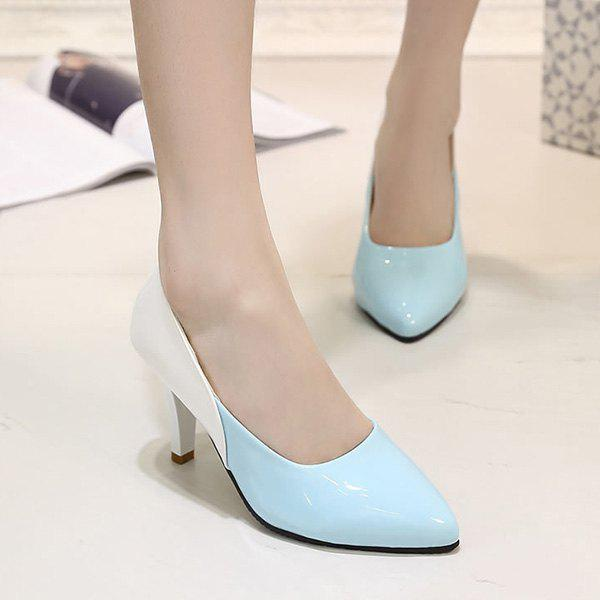 Leisure Pointed Toe and Colour Splicing Design Women's Pumps - LIGHT BLUE 39