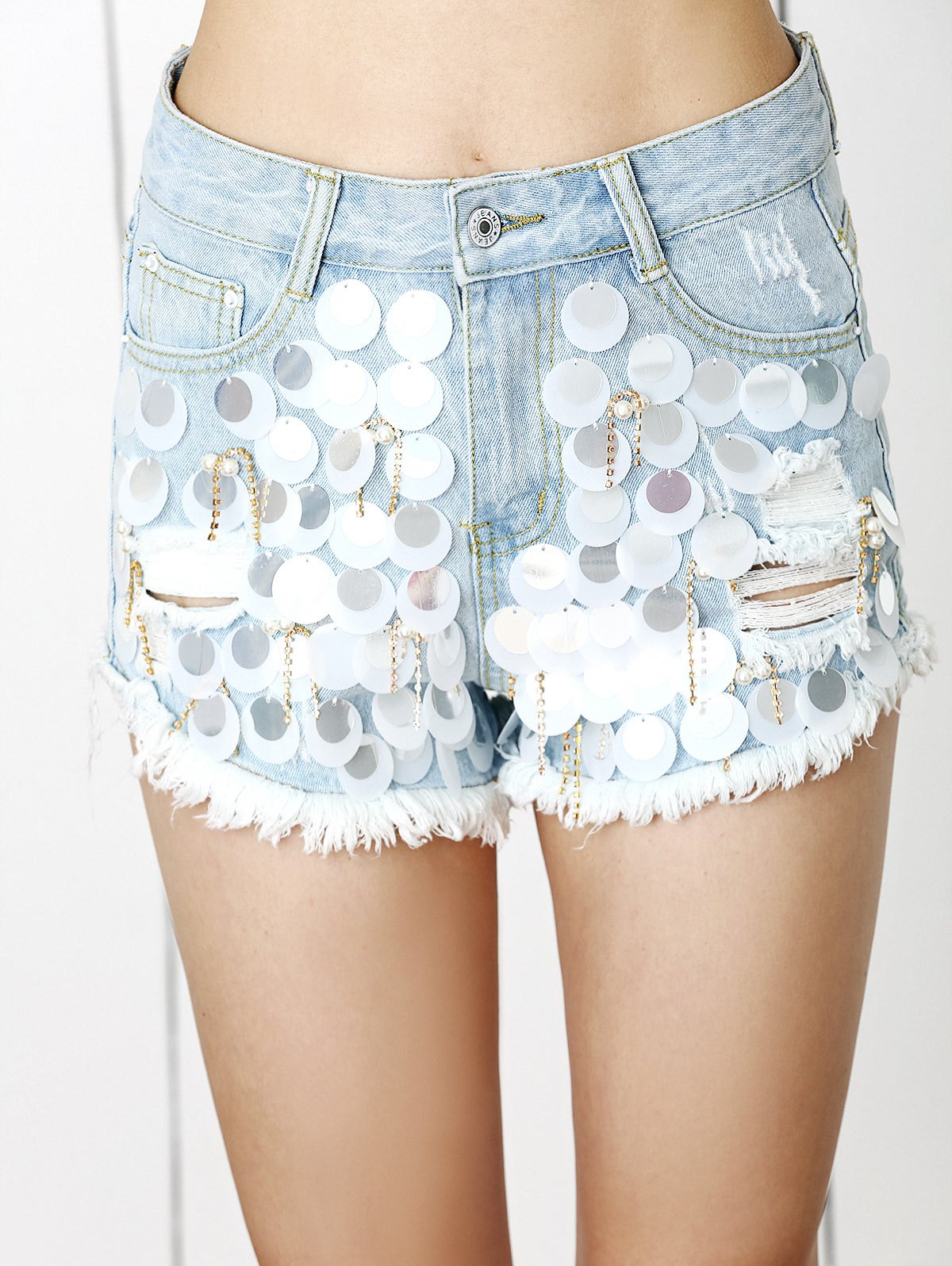 Trendy Ripped Fringe Sequined Distressed Beaded Denim Shorts - LIGHT BLUE L