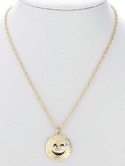 Stylish Smiling Face Necklace - GOLDEN