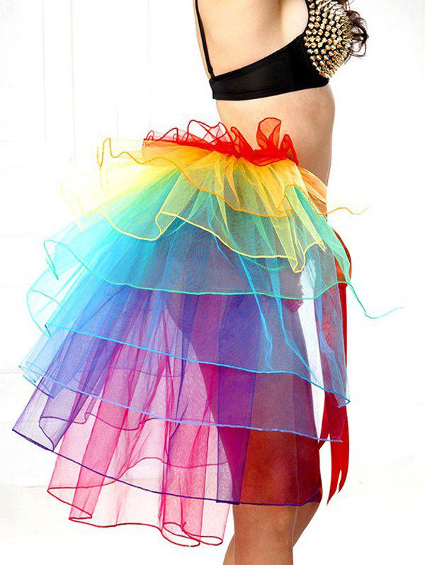 Alluring Tie-Waist Multicolor Layered Women's Skirt - COLORFUL ONE SIZE