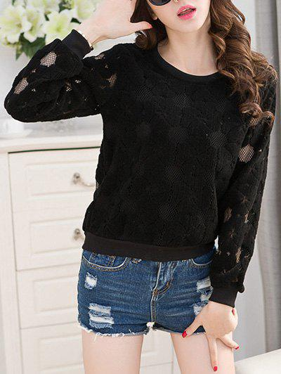 Crew Neck Lace Top - BLACK 3XL