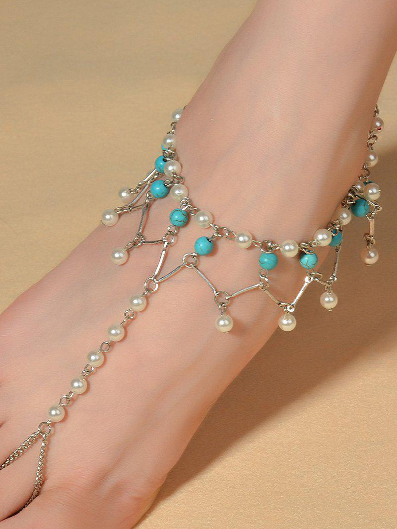 Graceful Faux Turquoise Wedding Jewelry Anklet