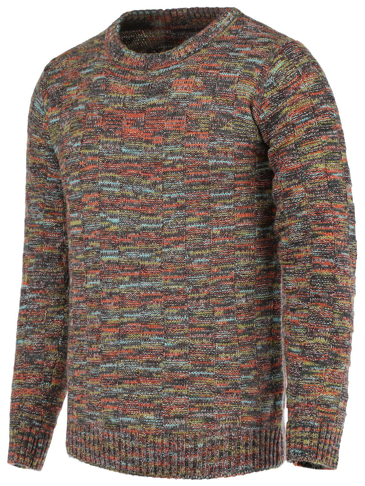 Heathered Plaid Crew Neck Long Sleeve Men's Sweater - COLORMIX XL