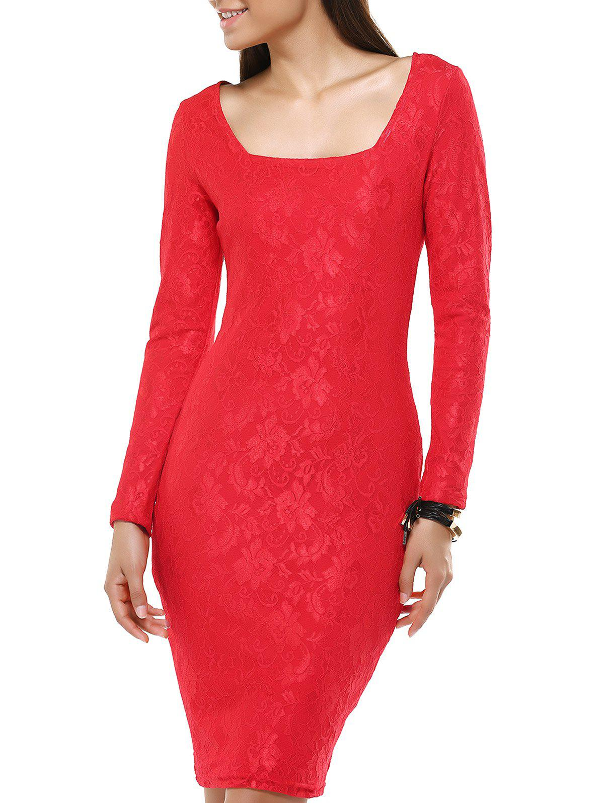 Ladylike Long Sleeve Jacquard Bodycon Dress For Women - RED 2XL