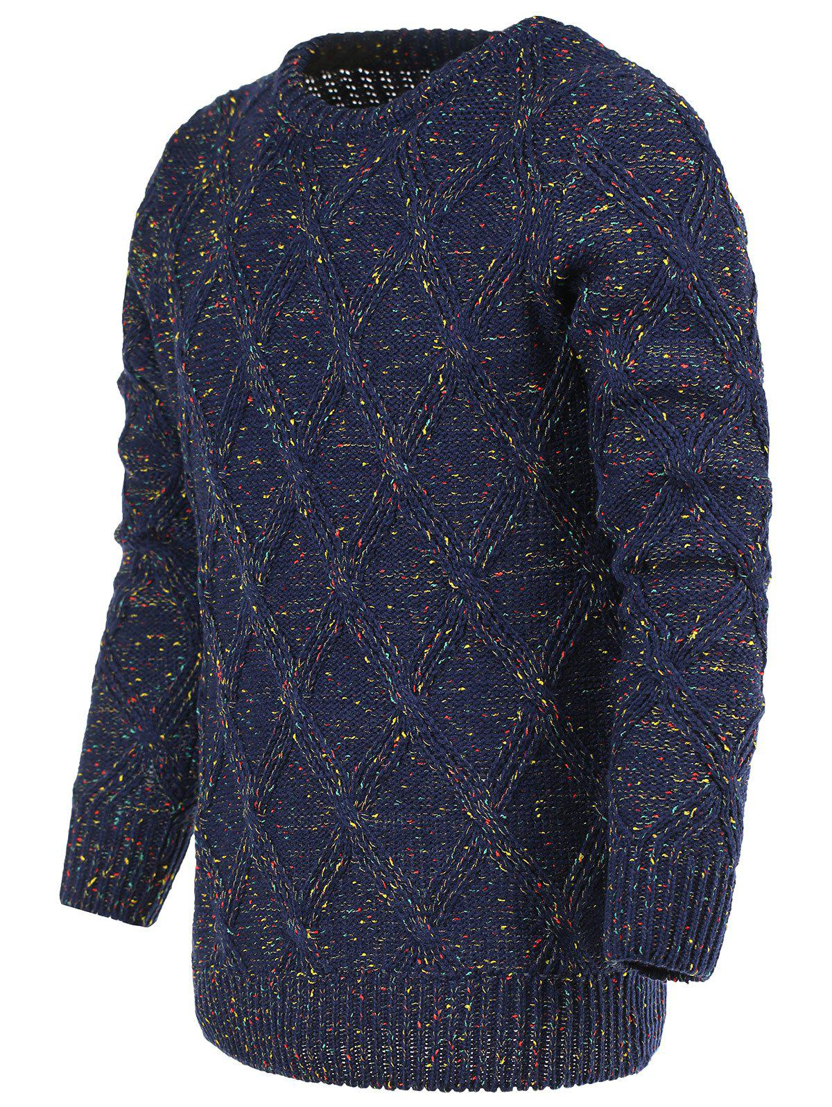 Heathered Geometric Pattern Crew Neck Long Sleeve Men's Sweater - COLORMIX M