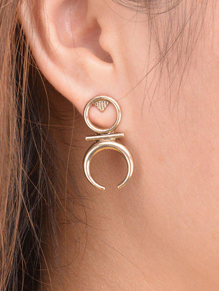 Round Moon Drop Earrings - GOLDEN