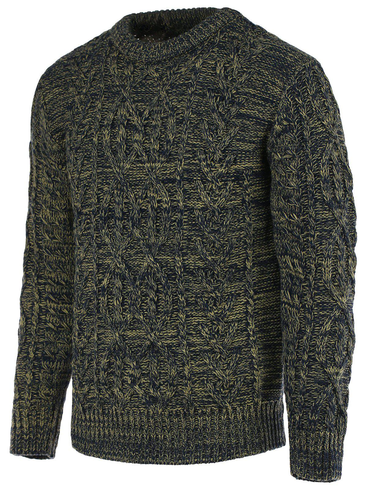 Braid Pattern Heathered Crew Neck Long Sleeve Men's Sweater - COLORMIX XL