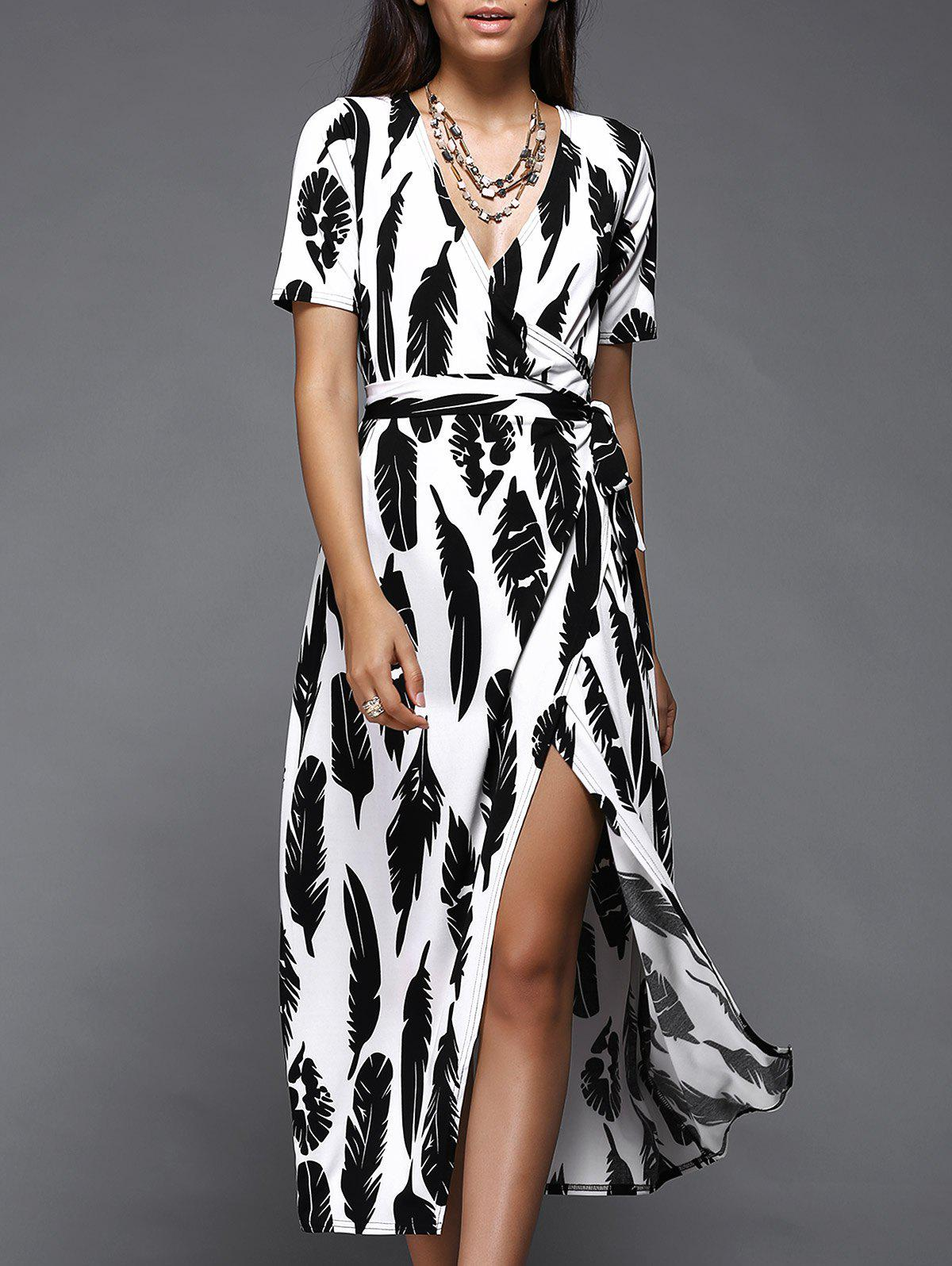 Stylish Feather Print Wrap Dress For Women