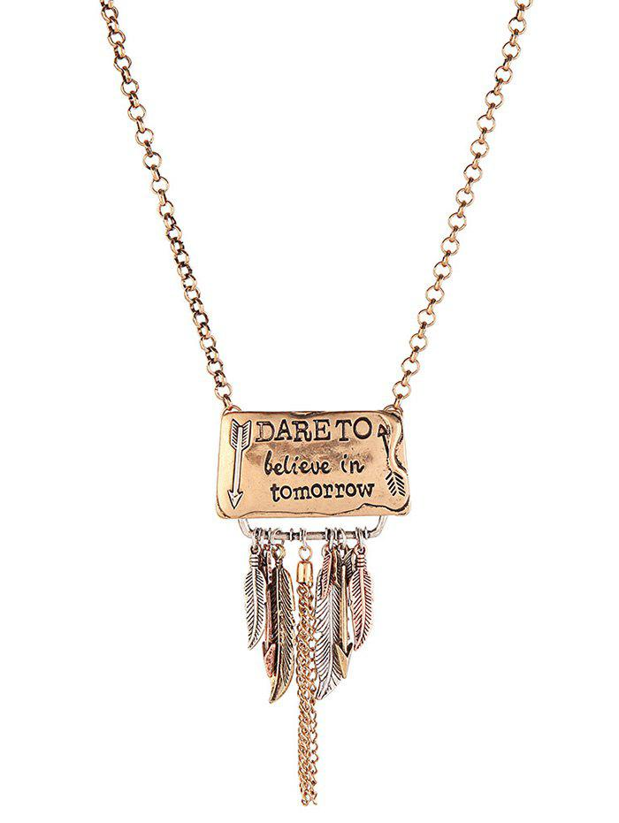 Arrow Proverb Leaf Fringed Necklace - GOLDEN