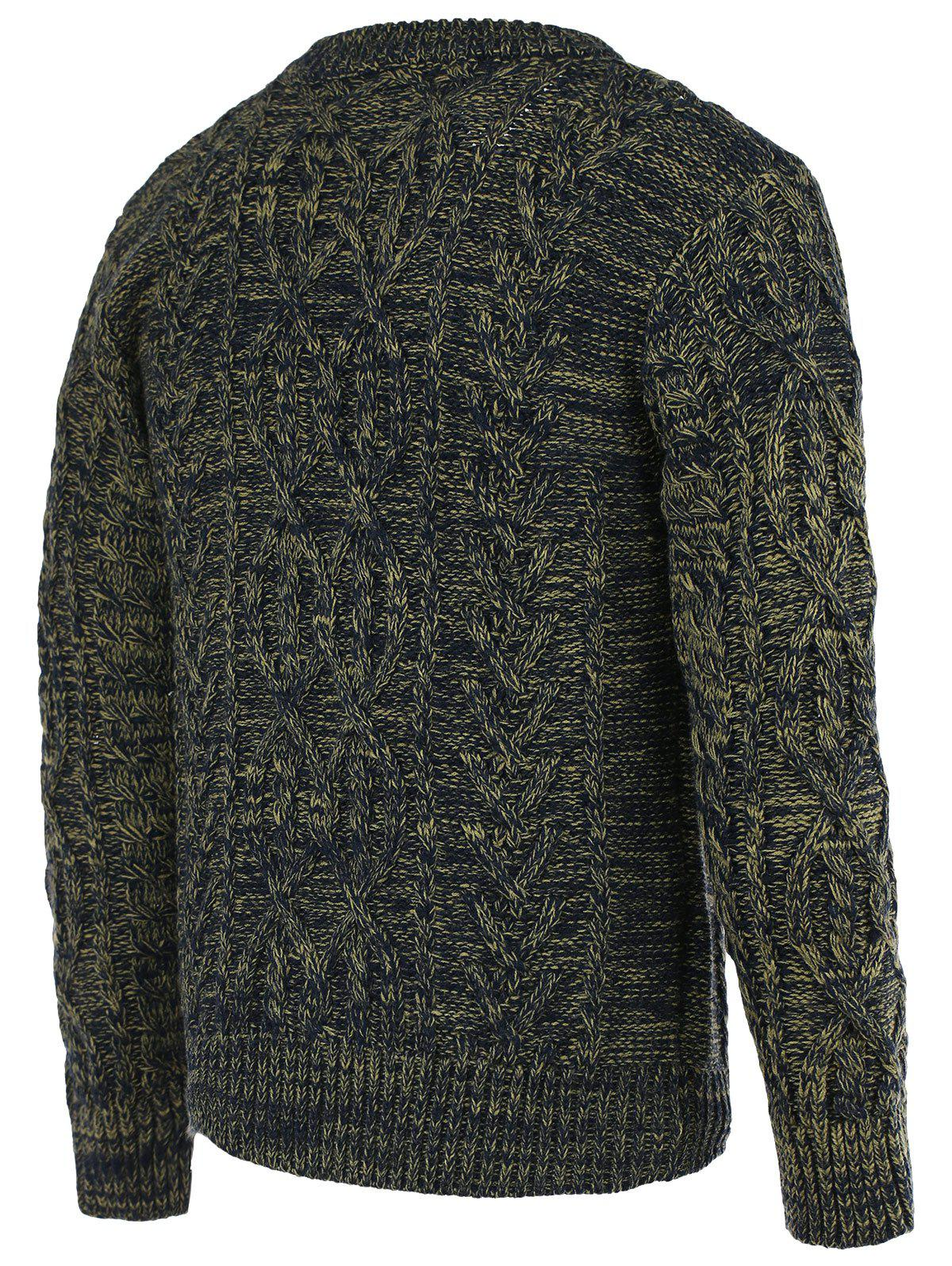 Braid Pattern Heathered Crew Neck Long Sleeve Men's Sweater - COLORMIX 2XL