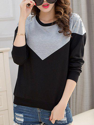 Chic Women's Rivet Hit Color Sweatshirt - BLACK 3XL